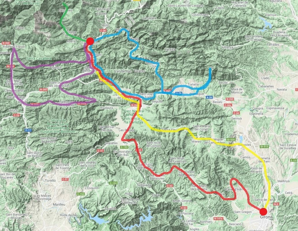 Bike Packing from Girona to the pyrenees routes map